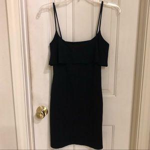Susana Monaco black dress with top flounce, Sz S.